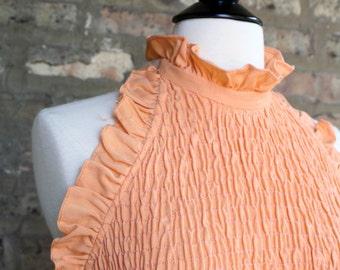 Vintage Apricot Halter Maxi Dress