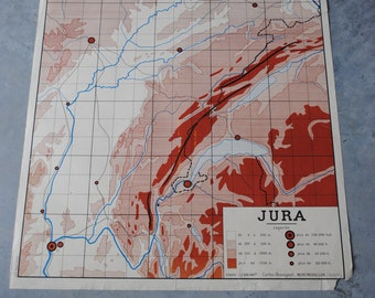 Jura and massif Central vintage Rossignol school map