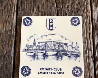 vintage Rotary Club Tile - Amsterdam Rotary Club Collectible Tile - Rotary Club Collectible Tile From Amsterdam - Collectible Tile