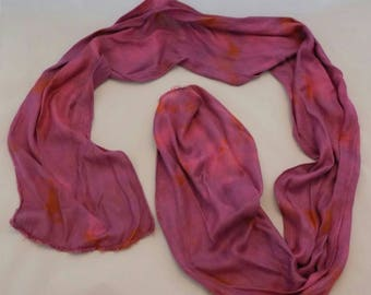 purple cotton scarf, hand dyed scarf, patterned scarf, soft scarf, neckwear, unique scarf, great gift.