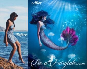 Mermaid Portrait, Custom Mermaid art portrait from photo, personalized mermaid, digital painting, photo manipulation, commission, photo gift