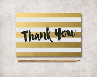 Thank you Card Printable, Gold Thank you Card, Gold Stripes Modern Thank you Card, Wedding Thank you Note, Shower Thank you Card, Digital