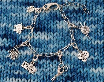 Knit Charm Bracelet with Adjustable Clasp