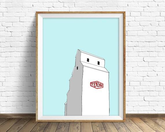 "grain elevator wall art, modern wall art prints, grain elevator, farmhouse wall art prints, large modern art print - ""Teslow Grain Elevator"""