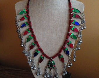 Tribal Style Ethnic Afghan Multi-Color Pendants Necklace Red Beaded Boho Jewelry
