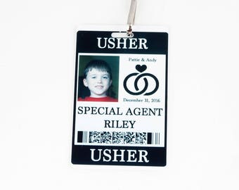 Usher Security ID Badge with Badge Reel - Wedding Party Alternative