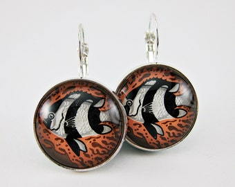 Humbug Fish Earrings, Vintage 1966 Australian Postage Stamp, Upcycled Jewelry, Black White & Coral, Colorful Leverback Earrings, Nickel Free