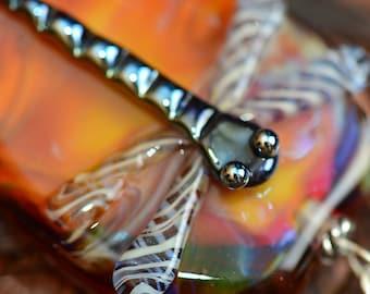 Pendant lampwork glass dragonfly in orange