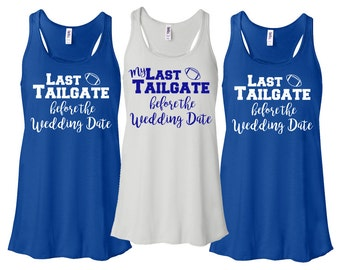 Bridesmaid Tank Tops Bridal Party Last Tailgate Football Bachelorette Flowy Racerback Monogram Bachelorette Party Tank Top Shirts