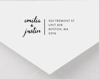 Personalized Return Address Stamp - Modern Address Stamp, Self-Inking Return Address Stamp, Wood Address Stamp, Custom Stamp Style No. 46