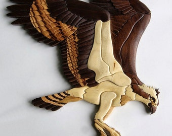 Osprey Intarsia Wall Hanging Bird Wood Carving Bird of Prey Home Decor