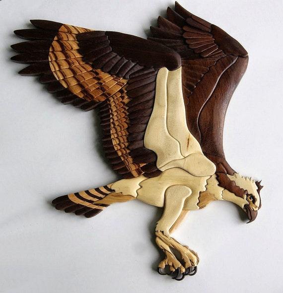 Osprey Intarsia Wall Hanging Bird Wood Carving Bird Of Prey