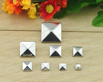 25pcs Silver Pyramid Rivets For Punk DIY,20mm Silver Pyramid Studs,25mm Silver Pyramid Studs,30mm Silver Pyramid Studs,35mm Silver Pyramid