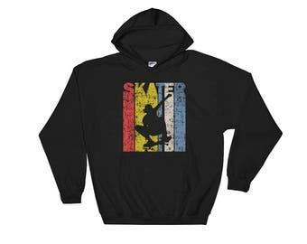 Retro Skater Hooded Sweatshirt - Skateboarder Gift Vintage Hoodie Skater Shirt Gift for Boyfriend Skateboard Skateboarding