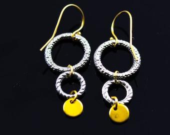Mixed Metal Rings Earrings