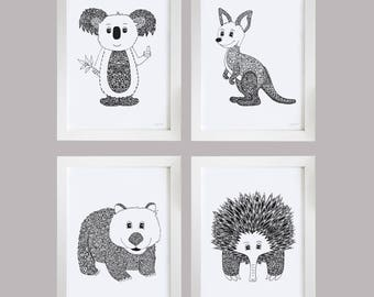 Nursery Room Prints - Australian Animals