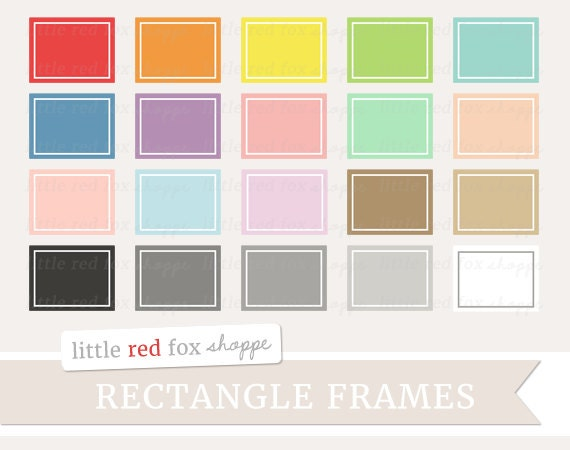 Rectangle Frame Clipart Digital Label Clip Art Cute Outline