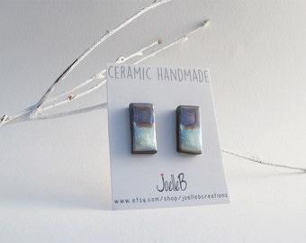 Light blue ceramic stud earrings, Handmade studs, Geometric earrings, Minimalist studs, gift for her
