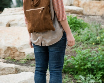 Brown suede backpack, Brown bag, Suede backpack, Women bag,Brown leather backpack