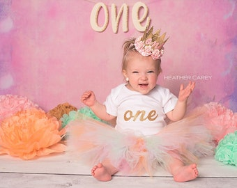 Mint Pink Baby Girl 1st Birthday Outfit | Baby Tutu | Tutu Dress | Birthday Dress | Baby Girls Cake Smash Outfits | Birthday Tutu