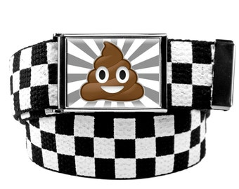 Poop Emoji Flip Top Belt Buckle Bottle Opener Style with Canvas Web belt