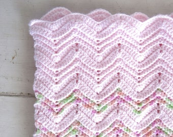 Crochet Baby Blanket Handmade Girls Pink Chevron Striped Blanket Knit Stroller Blanket 31 x 30 Inches