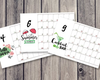 summer calendar, fridge calendar, monthly calendar, monthly planner, desk decal calendar