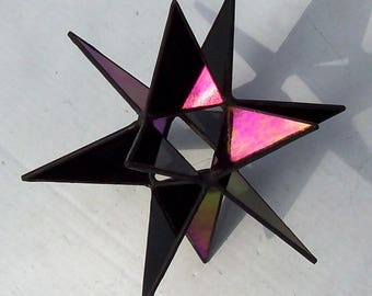 Hanging Moravian Star, Sun Catcher, Stained Glass 3D Star, Small Iridescent Black Star, Christmas Star Ornament, 12 Point Stars, X'mas Gift