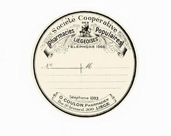 Old Frency Pharmacy Label