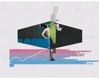 undressing - art print- mixed media digital collage