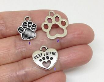 10/15/20pcs Dog Paw Charm, Pewter Charm, Dog charm