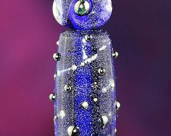 Starry Sky Set of Three Handmade Lampworked Glass Beads OOAK Cobalt Blue Silver Clear Metallic Black Tube Rondelles Lampwork