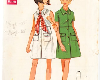 Vintage 1968 Simplicity 5448 Sewing Pattern Misses' Dress Size 10 Bust 32-1/2