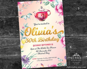 Chinoiserie floral detail Tea Party gold foil party invitations printable. Pink, Purple, Turquoise, Red Teapot.