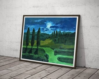 """Landscape at Night – Original Oil Painting on Paper – 37,7""""x26,7"""" (96x68 cm)"""