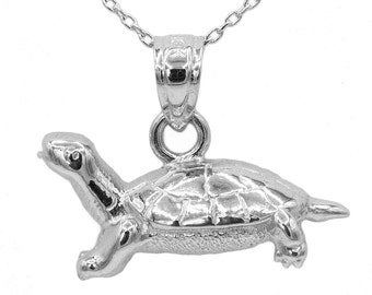 10k White Gold Turtle Necklace
