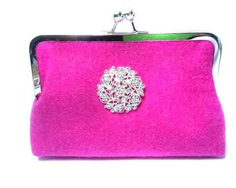 Harris Tweed Clutch Bag with Broach – Bright Pink with diamanté brooch Glamis