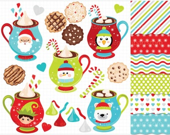 Clipart Combo - Hot Chocolate / Christmas Clip Art / Digital Clipart - Instant Download (Updated)