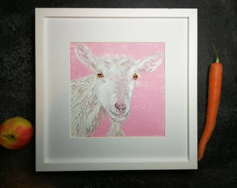 Nanny Goat - an original handprinted linocut art work