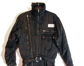 Black Ski Suit Retro Ski Suit Man's Ski Suit Man's Snowboard Suit 90's Ski Suit Vtg Man's Ski Suit Vintage Man's Ski Clothes Ski Wear 90's