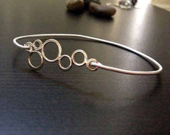 Bubbles Custom Bangle - Sterling Silver - Sterling Silver Bracelet