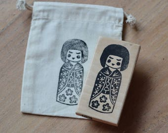 Stamp Japanese doll kokeshi engraved hand