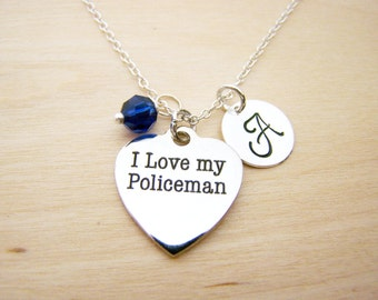 I Love My Policeman Charm Necklace -  Swarovski Birthstone Initial Personalized Sterling Silver Necklace / Gift for Her - Police Charm