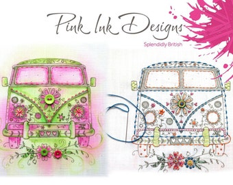 Embroidery kit Camper van hoop, sew and create. Make your own.