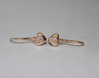 14K 585 ROSE GOLD Russian earrings for a child