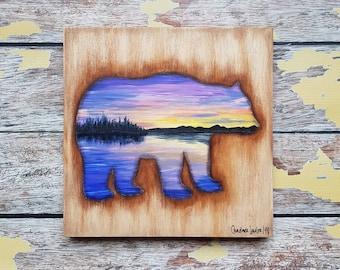 Bear Silhouette Painting   Wildlife Art   Landscape Painting   8×8   Painting on Wood   Bear Silhouette Art   Landscape Painting on Wood