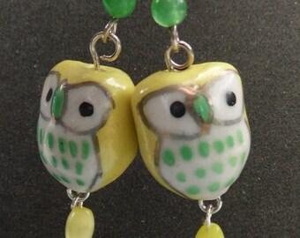 Ceramic Owl Dangle Earring