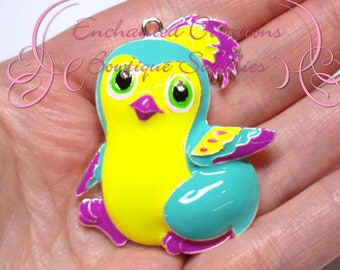 "2"" Yellow and Teal Hatchimal Inspired Charm, Chunky Pendant, Keychain, Bookmark, Zipper Pull, Chunky Jewelry, Purse Charm, Planner Charm"