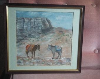 Original Watercolour of Donkeys in the Desert