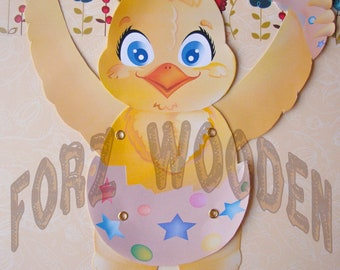 PATTERN: DIY Articulated Paper Doll Baby Chick/Easter Baby Chick Pattern/Jumping Jack Baby Chick Toy/Easter baby Chick Craft/Puppet Chicken